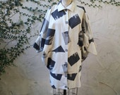 Cocoon Coat circa 1980 Natural Cream Cotton with Neutral Gray Graphic Print