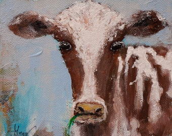 Small Original WHIMSY COW PAINTING on Stretched Canvas Loose Expressionist Style Pallet Knife Painting ready to hang