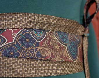 Guinevere - Vintage Upcycled Neckties Obi Corset Belt Teal Burgundy Taupe
