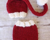 Red and White Santa Hat and Shorties Set, Newborn Photography Prop, Christmas Photo Prop
