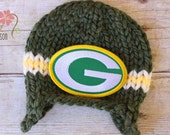 RUSH READY to SHIP - Packers Knit Sports Team Earflap Beanie, Newborn Photography Prop, Green Bay Packers Newborn Baby Football Hat