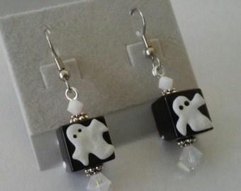 Halloween glass ghost earrings with Swarovski crystal