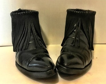 Black Leather Tony Lama Fringe Cowboy Booties wimans size 9 1/2 to 10