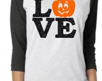 Halloween Shirts,Womens Halloween shirts,Jack O Lantern, Pumpkin Face, Halloween Raglan, Halloween TShirt, Halloween Shirts for Women