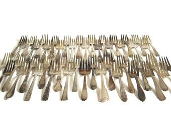 Antique Silverplate Salad Forks Silver Dessert Forks Vintage Wedding Silverware Ornate Flatware Mismatched