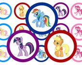 """1"""" My Little Pony Rainbow Dash Bottle Cap Image Sheets Party Favors Cupcake Topper Magnet Stickers Printables Instant Download."""