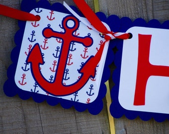 Nautical Happy Birthday Banner, Nautical 1st Birthday, Nautical Baby Shower