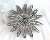 Dark Silver Filigree Flower - Antique Patina Brooch