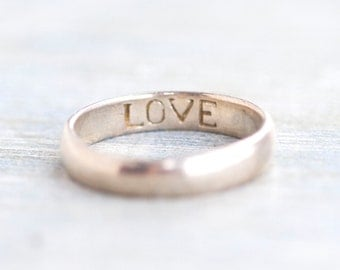 Simple Wedding Band Ring - Sterling Silver - Engraved Love Inside - Size 6.5