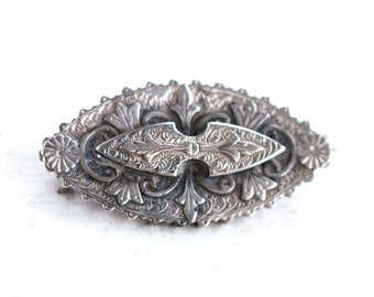 Victorian Lapel Pin - Dark Silver Brooch - Antique Gothic Sterling Silver
