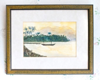 Boat in the Bay - Watercolor Painting - Vintage Picture Frame - Nautical Home decor