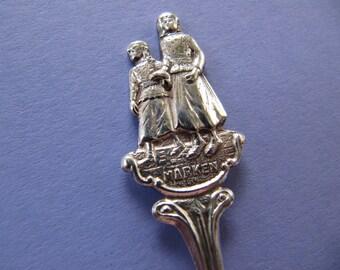 Vintage Dutch souvenir spoon, demitasse spoon silverplate, silverplated tiny teaspoon, from Marken Holland Netherlands, Dutch souvenirs