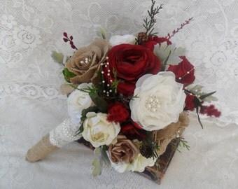 Bridal Bouquet, Rustic Wedding Bouquet, Christmas Bouquet, Burgundy Red Bouquet, Woodland Bouquet, Winter Bouquet, Brooch Bouquet, Vintage