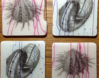 Shell Coasters-Fused Glass Coasters-Screenprint Coasters-Screenprint Shells-Coasters