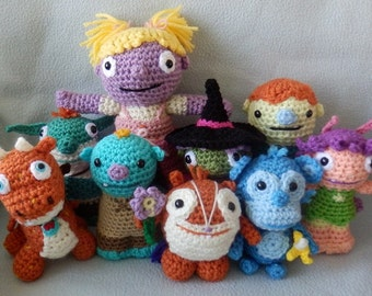 Made to order, Hand crocheted Wallykazam Characters 11 dolls Whole set Wally, Norville, Gina Giant, Bob Goblin, Borgelorp, Stan like dolls