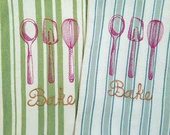 Bake with Kitchen Tools Kitchen Towels 100% Cotton, Machine Embroidery, Hostess Gift, Wedding Gift, Teacher Gift Cook Gift