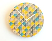Objectify Grid2 Yellow and Grey Wall Clock With Numerals - Medium Size