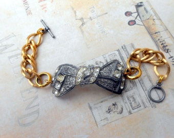 Rhinestone Bow Bracelet, Assemblage Jewelry, Silver and Gold, Antique Paste, Pot Metal, Repurposed Vintage, Upcycled, Recycled