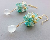 Apatite Earrings - White Chalcedony, Gold Pyrite and Swarovski Crystal Cluster Earrings
