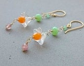Long Flower Earrings - Pink Sapphire, Czech Glass and Chrysoprase Dangle Earrings