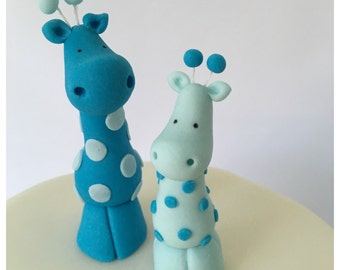 "Fondant ""Party City"" Blue Safari Baby Shower Giraffe Cake and Cupcake Toppers by Cupcake Stylist"