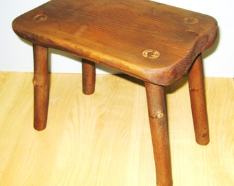 RUSTIC FIRESIDE STOOL, Rustic seat, Primitive Stool, Wood Stool, Plant stand, Footstool, Wood Bench, WoodTable, Reclaimed Salvage, Farmhouse