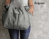 SaleSaleSlae 20%off // IRIS // Dark Grey / Lined with Beige / 051 // Ship in 3 days // Messenger / Diaper bag / Shoulder bag / Tote bag / Pu