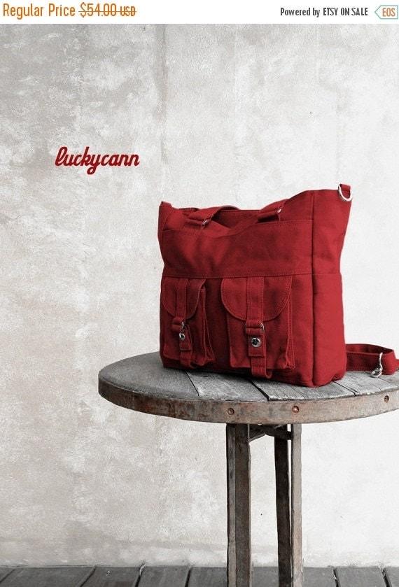Summer Sale 20% OFF// BAILEY // Dark Red / Lined with dark Grey / 023 //  Ship in 3 days // Messenger / Diaper bag / Shoulder bag / Tote bag