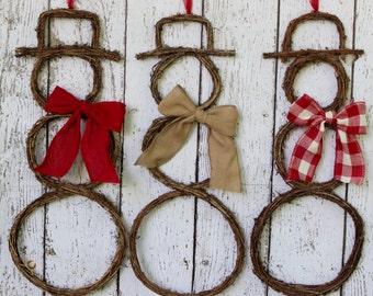 Snowman Wreath - Grapevine Snowman - Christmas Snowman Wreath - Snowman Door Wreath