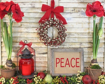 Christmas Wreath  - Berry Wreath - 9 Wreath Colors - 30 Bow Options- Custom Made For You
