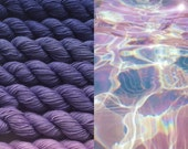 Gradient yarn set -  merino superfine, handdyed yarn 200g- hand painted dyed sock shawl ombre -Lilac touch.