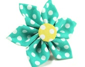 Teal Flower, Blue Flower, Sunflower, Cat Flower, Puppy Flower, Dog Flower, Removable Flower, Cat or Dog Flower - Teal Polka Dots with Yellow