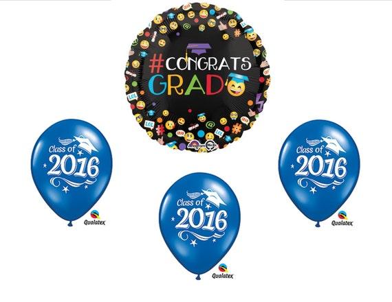 Graduation Emojis 2016 Blue Balloons Set Party Decorations Favors ...