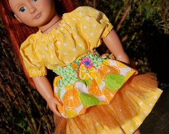 18 Inch Doll Clothes - Peasant Dress with layered twirl Skirt in shades of yellow