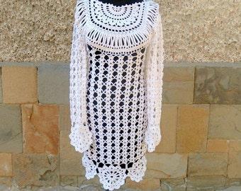 Crochet Dress, Alternative Wedding Dress, White Crochet Dress, Flower Motif Dress, White Lacy Dress, Handmade  Summer Dress, White Dress
