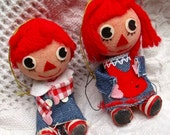 Raggedy Ann Andy ornaments Vintage Christmas decoration dolls pair 2 figures decor unbreakable nursery baby room Holiday red blue