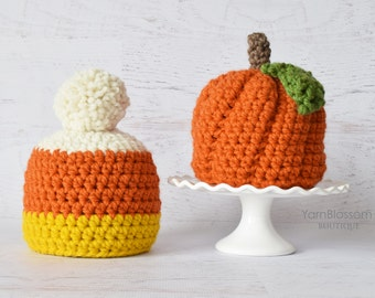 CROCHET PATTERN - Pumpkin and Candy Corn Hat - Instant Download crochet beanie baby hat pattern