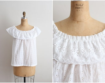 70s Boho Lady Manhattan White Eyelet Top / Ruffle Top / Off the Shoulder Top/ Size M/L