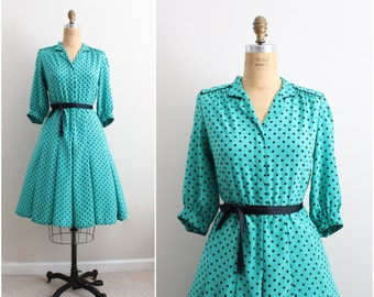 70s Vintage Polka Dots Green and Black Dress / Pinup Dress/ Full skirt/ 50s style/ Size M/L
