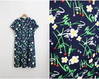 60s Sunflowers Mod Dress / Novelty Print Dress / Fit and Flare Dress/ Size L/XL