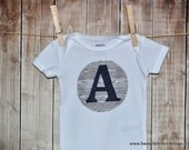 Initial Baby Onesie - Personalize Baby SHORT SLEEVE Onesie - Modern Baby Onesie Wood Fabric Navy Plaid Gray and Navy Navy and Gray