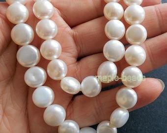 """5"""" white button Pearls-8mmX6mm Genuine fresh water Pearls"""