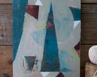 Abstract - Teal,  Cranberry red, Mid-Century, small painting