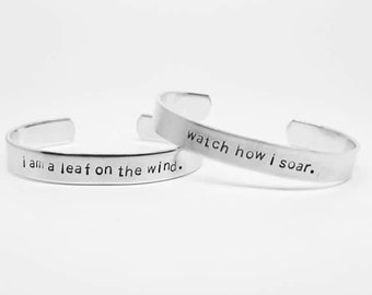 i am a leaf on the wind/watch how i soar: hand stamped SET of aluminum Firefly/Serenity cuff bracelets