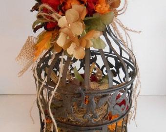Birdcage Floral Arrangement Sale / Birdcage Home Decor / Rustic Fall Floral Arrangement / Fall Birdcage Flower Arrangement / Rustic Decor