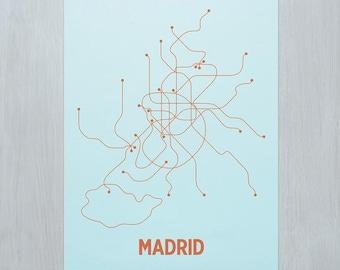 Madrid Screen Print - Ice Blue/Orange