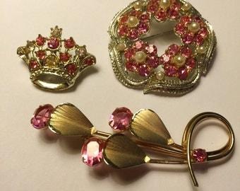SALE Vintage Pink Rhinestone Wreath Crown Floral Brooch lot of 3