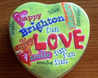"4"" Brighton Heart Tin Happy Green Graffiti"