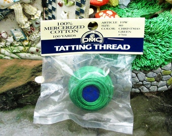 Christmas Green Tatting Thread 100 yds Packaged Free Shipping