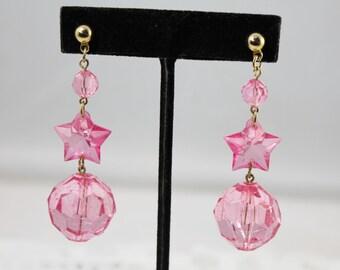 Funky Pink Plastic Stars and Balls Dangle Earrings- Pierced